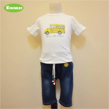2017 white boy 2 pieces white cotton T-shirt with yellow cute school bus pattern & blue cowboy shorts