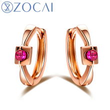ZOCAI Earring Fall in Love Natural 0.1 CT Certifed Ruby Hoop Earrings 18K Rose Gold (Au750) E00926(China)