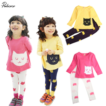 2017 new year Girls clothes hello kitty kitti clothing sets cat cute toddler girl clothes kids clothes cheap infant clothing