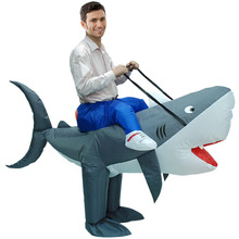 Funny Halloween Costume Clothing AirSuits Inflatable Shark inflatable clothing Dress Adult Chub Suit Air blown Carnival(China)