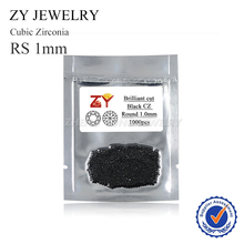 Small Size 1.0mm Round Brilliant Cut Loose Black CZ Zirconia Synthetic Gemstone Beads(China)