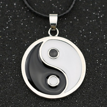 Naruto Necklace Hyuga Neji Yin Yang Eight Trigrams Tai Chi Ji Black White Enamel Pendant Fashion Classic Anime Jewelry Wholesale