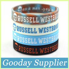 2PCS basketball RUSSELL WESTBROOK sport silicone band Oklahoma City Thunder cheap silicone wristband Sport rubber bracelet(China)