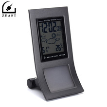 Solar Dual Power Thermometer Weather Station Clock Temperature Instruments Digital Humidity Room Electronic Thermostat Meter(China)