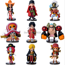 9pcs/set Film One Piece Action Figures Anime PVC brinquedos Collection Figures toys AnnO00457A(China)