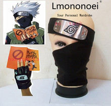 Lmononoei NARUTO Kakashi Cosplay Costume Headband mask book gloves Full set