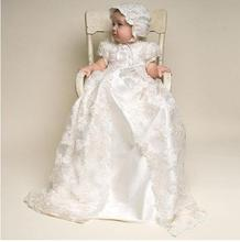 ON SALE Cheap Baby Girls White Ivory Christening Dress 2 Pieces Boys Girls Baptism Gown Birthday Dress with Bonnet with Shoes
