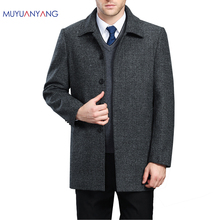 Mens Wool Coat In The Long Section Turn-Down Collar Single Breasted Men's Woolen Coat Thicken Winter Wool Overcoat XXXXL XXXL