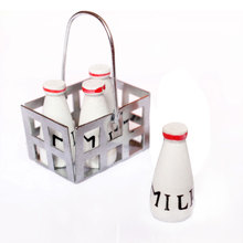 1/12 Dollhouse Furniture Mini Metal Milk Basket with 4pcs Wood Bottles Set Model Building Kits Dollhouse Decoration Accessory