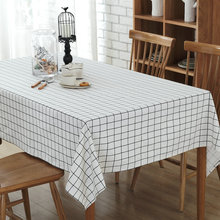 White Tablecloth European Style Table Cloth Cotton Line Edge Table Cover Rectangular