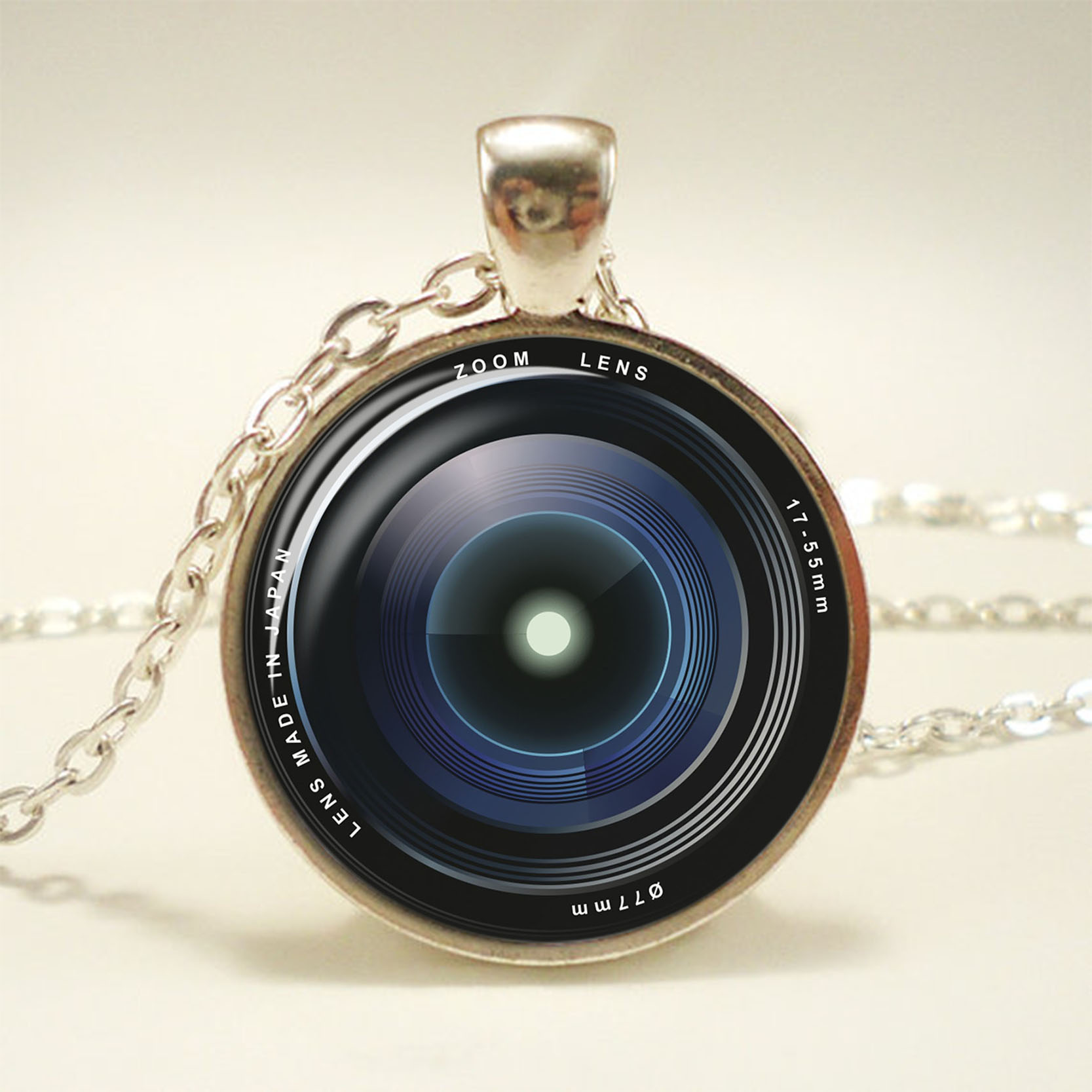 Charm Photographer Camera Mens Womens Pendant Necklace Stainless Steel Chain Color Black
