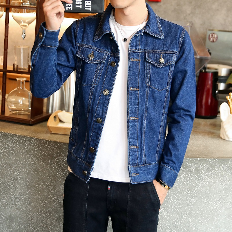 2019 Spring and Summer Hot New Pure Cotton Solid Color Men's Jacket Casual Slim Hip-hop Street Motorcycle Models Denim Jacket