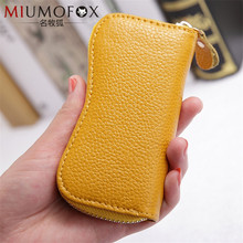 Keychain Case Wallet Genuine Leather Cow Leather Unisex 8 Colors Pillow Key Organizer Holder Car Housekeeper Wallet Pouch W110