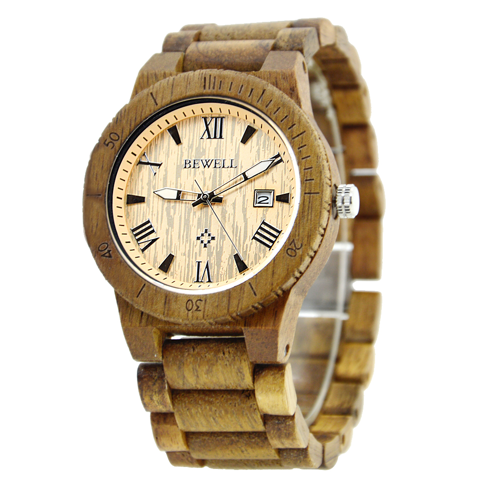 BEWELL Newest Wood Watch for Mens with Date Quartz Watches Two-tone Acacia Wooden Strap Japanese movement Drop Shipping 109B<br>