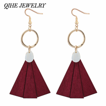 QIHE JEWELRY 3 Color Wood Shell Chandelier Style Geometric Triangle Metallic Dangle Earrings In Gold Tone Statement Earring