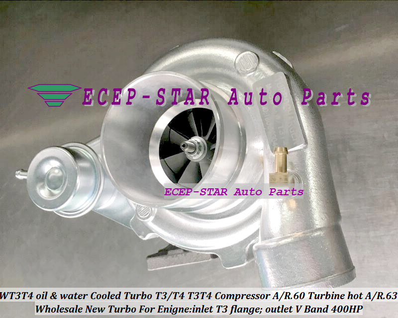 WT3T4 oil Cooled Turbo T3T4 T3T4 Internal Wastegate;Compressor AR .60 Turbine hot AR.63 inlet T3 flange;outlet V Band 400HP (1)