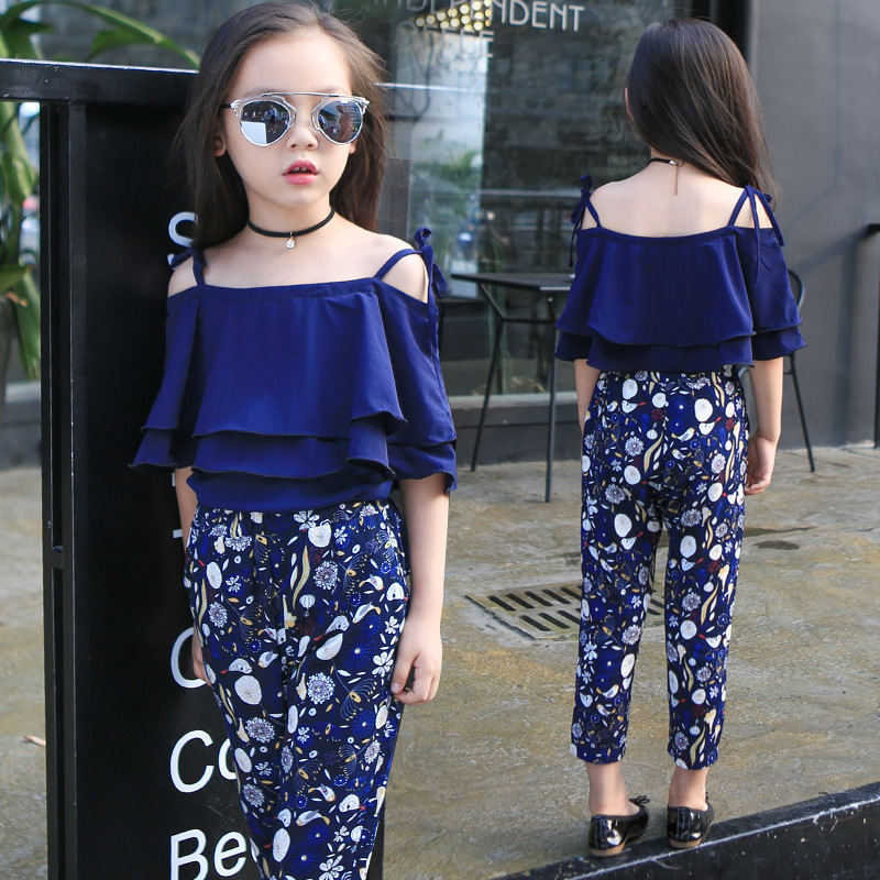 Girl Summer New Pattern Korean Suit Shivering Pants Camisole Suit Suit 2 Pieces Kids Clothing Sets Flowers Printing <br>