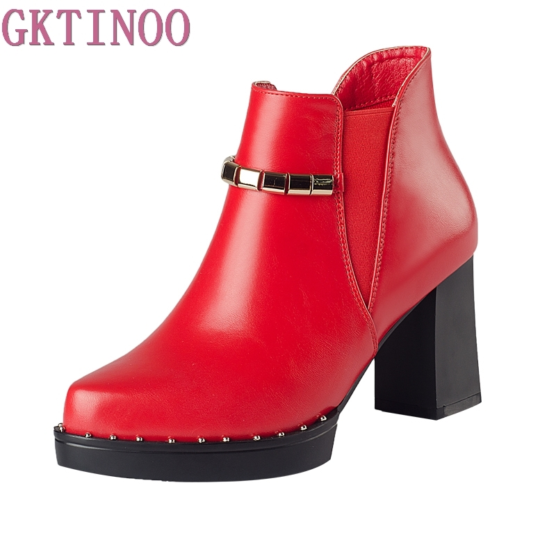 New 2018 Autumn Winter Shoes Women High Heels Martin Boots Fashion Leather Womens Boots Platform Woman Shoes Ankle Botas<br>