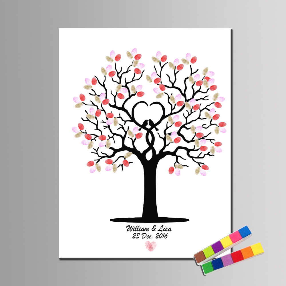 HAOCHU Fingerprint Sign Wedding Party Decoration Tree And Bird LOVE Custom Names and date Wedding Guestbook Birthday Baptism