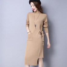 2016 Fall Autumn Sweater Dress Turtleneck Long Knitted Dresses Women Winter Thick Sweaters And Pullovers Jumper Pull Femme