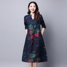 Classic Retro New Chinese Style Spring Women Loose Big Yards Peony Print V Neck Long Sleeve Line Fall Dress - Lattice Cotton Linen J Store store