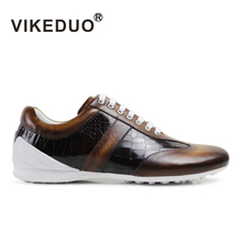 VIKEDUO Brand 2017 Fashion Newest Fashion Vintage Slip On Mens Male Leisure Flat Sports Shoes 100% Genuine Leather Man Footwear(China)