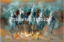 Handmade Abstract Impression Five Running Horses Wall Art Oil Paintings on Canvas Decoration Blue Paintings Animals in Colorful
