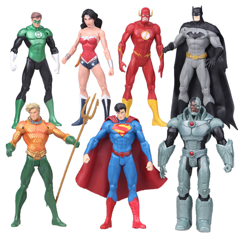7pcs/set Justice league superman Wonder flash batman Lantern Aquaman movable PVC Action Figure Collectible Model Toy 17cm<br>