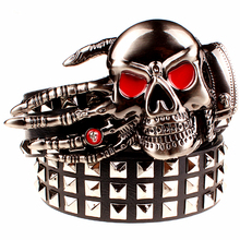 2017 Fashion men's rivet belt Punk rock belt skull head ghost claw heavy metal wide belts hip hop big rivet belt women Gift(China)
