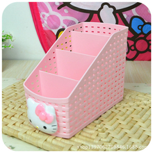 Hellokitty Multi-Cell Desktop Storage Box Multifunctional Living Room Remote Control Cosmetics Storage Box A(China)