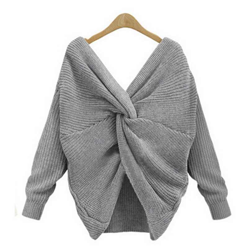 2e947338f4 CALOFE Winter 2018 Sweater Woomen Autumn Solid V Neck Cross Knitting Pullover  Sweaters Female Sexy Backless