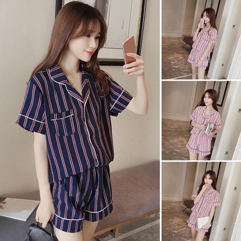 d41f3fa051 Summer 2018 New Fashion Women Pajamas Turn-down Collar Sleepwear ...