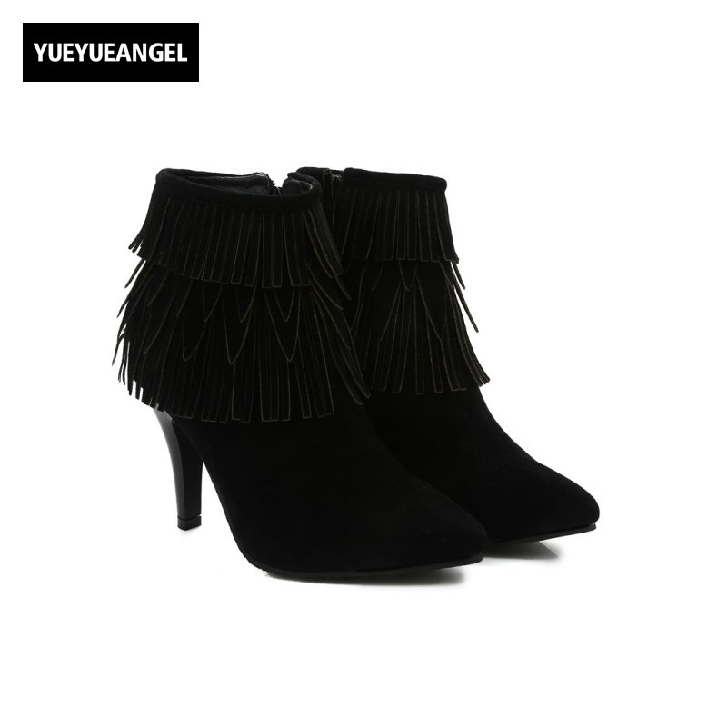 New Autumn Winter Super High Thin Heel Pointed Toe Side Zipper Ankle Boots For Women Tassel Fashion Party Chaussures Femme Black<br>