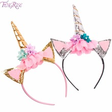 FENGRISE Glitter Unicorn Horn Headband Kids Birthday Hat Rose Flower Hair Accessories Girl Birthday Party Gift Baby Shower Decor