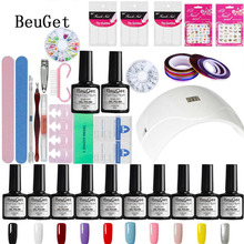BeuGet Gel polish Top & Base Coat gel nails polish kit 24 w white lamp 10 colors varnishes art tools kits sets manicure set(China)