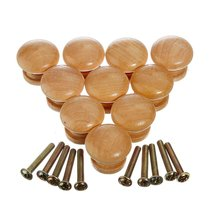 High Quality 10pcs 25mm Natural Wood Wooden Cabinet Knob Drawer Wardrobe Door Pull Handle(China)
