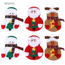 6pcs Christmas Decorations For Home New Year Tableware Holder Cutlery Pocket Christmas Bags Gifts Knife Fork Table Decoration