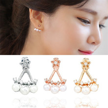 EK837 News Brinco Boucle D'oreille Fine Star Bijoux Imitation Pearl Crystal Stud Earrings For Women Girl Jewelry Gift Pendientes(China)