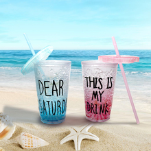 E-SHOW 1PCS Plastic Summer 0 Degree Ice Cool Cup Coffee Smoothie Iced Juice Water Cup Creative Candy Color 450ML/650ML Drinkware(China)