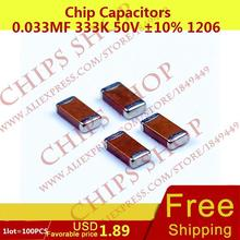 Buy 1LOT=100PCS Chip Capacitors 0.033uF 333K 50V 10% 1206 33nF 33000pF Package1206 (3216 Metric) SMD for $2.69 in AliExpress store