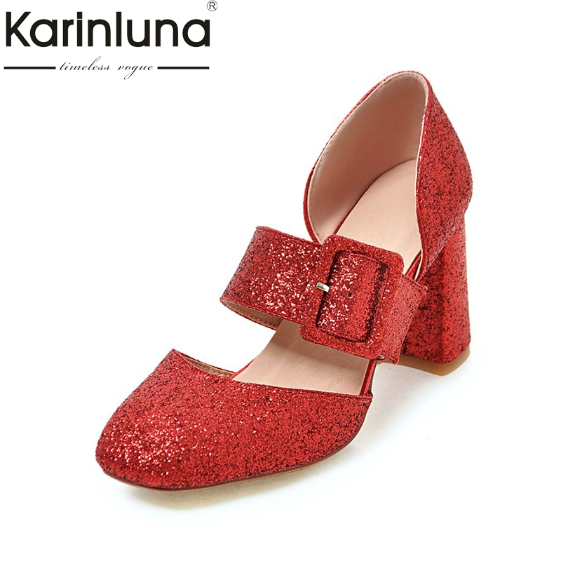 KARINLUNA Large Size 34-43 Bling Upper Square High Heels Woman Shoes Sexy Gold Sliver Black Red Date Party Pumps Lady<br>
