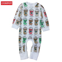 COSPOT Baby Girls Boys Coffee Cups Romper Girls Cotton Rompers Newborn Cute Jumpsuits Kids Fashion Jumper 2017 New Arrival D35(China)