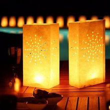 20pcs/Lot 4 Patterns Tea Light Holder Luminaria Paper Lanterns Candle Bags For Wedding Party Festival Outdoor Decorations