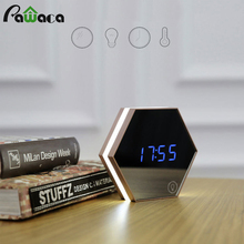 2017 Multi-function Led Mirror Digital Alarm Clock Night Light Temperature Display Mirror Thermometer Touch Sensing Table Lamp