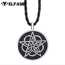 Mens Circle Knot Star Silver Black Pewter Pendant Necklace Free Shipping LP280(China)