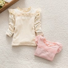 Baby Girls Lace Collar Cotton Shirts Princess Blouse Long Sleeve Tops