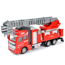 Construction Vehicles Diecast Metal Truck Fire Engine Ladder Truck Water Cannon Pull Back Alloy Toys Car 1:48 Gift Toys For Kids(China)