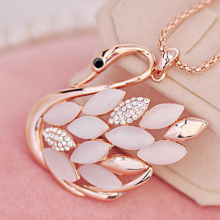 Fashion Women Charming Golden Rhinestone Opal Swan Pendants Necklace Sweater Chain Jewelry Xmas Gift