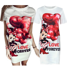 YIMOSI Women Casual Minnie Dress 2017 Summer Cartoon Mickey Mous Bandage Package Hip Dresses Sexy Female Evening Club Mini Dress