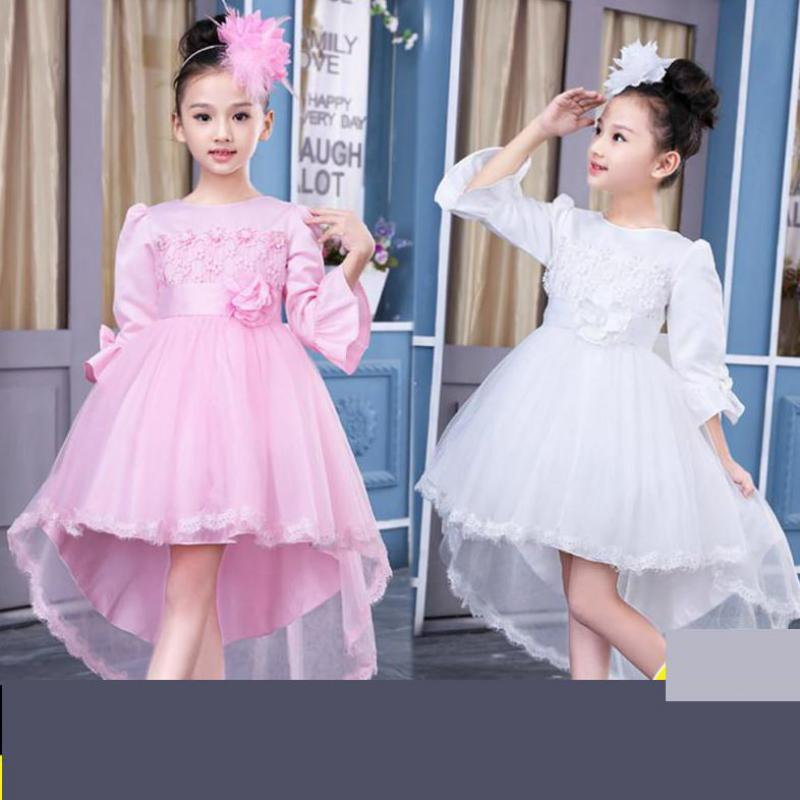 2018 Kids Girls Flower Dress Baby Girls Pink Red Birthday Party Dresses Children Fancy Princess Ball Gown Wedding Kids Clothes<br>